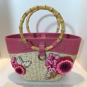 MIU MIU Pink Begonia Leather & Natural Straw Bag